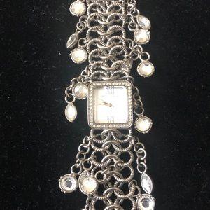 Betsey Johnson silver dangly rhinestone watch